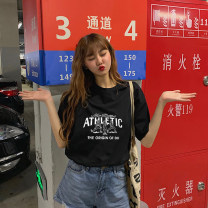 Women's large Summer of 2019 singleton  commute easy Socket elbow sleeve Cartoon letters Korean version Crew neck Medium length cotton printing and dyeing routine Xianwan Poetry 18-24 years old tie-dyed 91% (inclusive) - 95% (inclusive) Cotton 95% polyurethane elastic fiber (spandex) 5%
