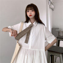 Women's large Summer 2021 White (no tie) Purple (no tie) white (with tie) Purple (with tie) M L XL Dress singleton  commute easy moderate Socket Short sleeve Solid color Korean version Polo collar Polyester cotton cowhide routine 10123# Xianwan Poetry 18-24 years old Short skirt
