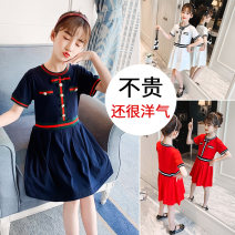 Dress White, red, navy female Other / other 110cm,120cm,130cm,140cm,150cm,160cm Cotton 90% polyvinyl alcohol fiber (vinylon) 10% summer Korean version Short sleeve Solid color cotton Princess Dress Class B Five, six, seven, eight, nine, ten, eleven, twelve, thirteen, fourteen Chinese Mainland