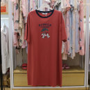 Nightdress Bailun family Bean paste, rust red Average size (about 90-135 kg) Simplicity Short sleeve Leisure home Middle-skirt summer Solid color youth Crew neck cotton More than 95% Knitted cotton fabric