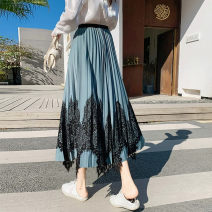 skirt Spring 2021 Average size Blue black apricot longuette commute High waist A-line skirt Solid color Type A 25-29 years old More than 95% Lace Yanggangli other Lace Korean version Other 100% Pure e-commerce (online only)