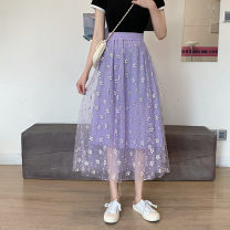 skirt Summer 2021 Average size Purple black Mid length dress Versatile High waist A-line skirt Decor Type A 18-24 years old More than 95% other Yanggangli other Other 100%