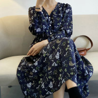 Dress Spring 2021 M, L Mid length dress singleton  Long sleeves Sweet V-neck High waist Broken flowers Three buttons Big swing routine Others Type A Stitching, buttons, print 81% (inclusive) - 90% (inclusive) Chiffon polyester fiber Countryside
