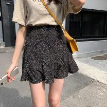 skirt Summer 2021 M, L black Short skirt Retro High waist Ruffle Skirt Broken flowers Type A #70184 71% (inclusive) - 80% (inclusive) other polyester fiber Zipper, print