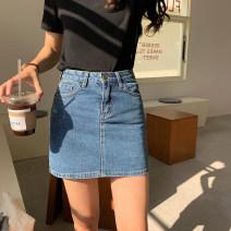 skirt Spring 2021 S,M,L,XL Light blue, dark blue Short skirt commute High waist A-line skirt Solid color Type A 51% (inclusive) - 70% (inclusive) other cotton Zipper, stitching Korean version