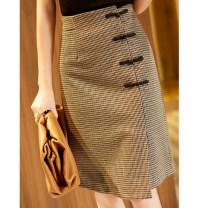 skirt Autumn 2020 S,M,L,XL houndstooth  Short skirt Retro High waist A-line skirt houndstooth  Type A RS111502 Rothaes / Lohans