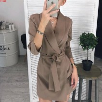 Dress Winter 2020 S. M, l, XL, XXL Short skirt singleton  Long sleeves commute tailored collar High waist Solid color other A-line skirt routine Others 25-29 years old Other / other Lace up, stitching 71% (inclusive) - 80% (inclusive) other other