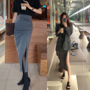 skirt Spring 2021 S, M Grey reservation, black reservation longuette commute High waist A-line skirt Solid color Type A 18-24 years old Other / other polyester fiber