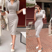 Dress Winter 2020 Grey reservation, beige reservation, black reservation Average size longuette singleton  Long sleeves commute V-neck High waist Solid color Socket A-line skirt routine 18-24 years old Type H knitting polyester fiber