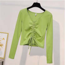 T-shirt White, black, green, 101 black S,M,L,XL,2XL,3XL Autumn of 2019 Long sleeves V-neck Self cultivation routine commute polyester fiber 86% (inclusive) -95% (inclusive) 18-24 years old Korean version originality Solid color 1913# Tuck, bow
