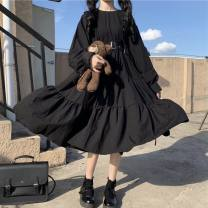 Dress Spring 2021 Black Long Sleeve Dress + FREE waistband, black short sleeve dress + FREE waistband, collection and purchase priority delivery [niutiantianjia] S suggests less than 95 Jin, m suggests 95-105 Jin, l suggests 105-115 Jin, XL suggests 115-125 Jin, 2XL suggests 125-135 Jin Long sleeves