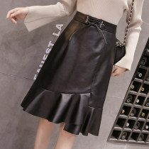 skirt Autumn of 2018 S M L XL 2XL Black pre-sale belt Mid length dress Versatile High waist Ruffle Skirt Solid color Type A 18-24 years old Other / other PU Bow and ruffle zipper