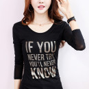 T-shirt Black, black Plush M,L,XL,2XL,3XL Spring 2021 Long sleeves Crew neck Self cultivation Regular routine commute nylon 86% (inclusive) -95% (inclusive) 25-29 years old Korean version originality Letters, stitching C6034