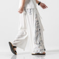 Casual pants The story of Fengting Youth fashion M,L,XL,2XL,3XL,4XL,5XL thin trousers Other leisure easy K72 summer Large size Chinese style 2019 Medium low back Straight cylinder Low crotch straddle pants printing washing Animal design Cotton and hemp