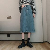 skirt Spring 2021 S,M,L Blue, black Mid length dress commute High waist A-line skirt Solid color Type H 18-24 years old 71% (inclusive) - 80% (inclusive) other cotton Korean version