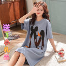 Nightdress M, l, XL, XXL, XXXL Cartoon Short sleeve pajamas Middle-skirt summer Cartoon animation youth Crew neck cotton printing More than 95% pure cotton 200g and below