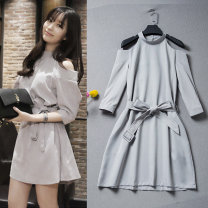 Dress Autumn of 2018 Light grey, white vest 8492 S,M,L,XL Short skirt singleton  three quarter sleeve Sweet Half high collar Loose waist Solid color Socket A-line skirt routine Others Type A Other / other Hollowing out 51% (inclusive) - 70% (inclusive) brocade cotton Mori