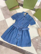 Dress Denim blue interlock GG dress female Other / other 4A/105,5A/110,6A/115,8A/125,10A/140,12A/150,14A/160,16A/165 Cotton 100% No season Europe and America Short sleeve Solid color cotton Big swing 17O0Z18H00217 3 months, 12 months, 6 months, 9 months, 18 months