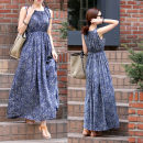 Dress Summer 2021 Decor, sling S,M,L,XL,2XL,3XL Mid length dress singleton  Sleeveless commute Crew neck High waist Broken flowers Socket Big swing other Others Type H Ol style 31% (inclusive) - 50% (inclusive) other cotton