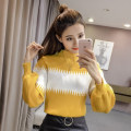 sweater Autumn of 2019 Average size Long sleeves Socket singleton  Regular cotton 30% and below High collar Regular commute routine stripe Self cultivation Regular wool Keep warm and warm Splicing cotton