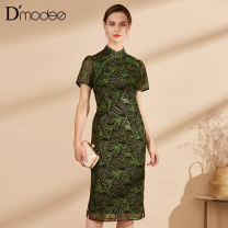 Dress Summer 2021 green longuette Short sleeve stand collar Decor routine 35-39 years old D'modes More than 95% polyester fiber Polyester 100% Same model in shopping mall (sold online and offline)