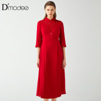 Dress Winter of 2019 gules 46 longuette singleton  Long sleeves commute High collar middle-waisted Solid color zipper other other Others 30-34 years old D'modes lady DC05032194 More than 95% polyester fiber Polyester 100%