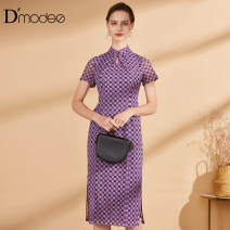 Dress Summer 2021 violet 2/M 4/L 6/XL 8/XXL 10/3XL longuette singleton  Short sleeve commute stand collar middle-waisted lattice Socket other Others 35-39 years old D'modes Retro DC05001212 More than 95% polyester fiber Polyester 95.2% polyurethane elastic fiber (spandex) 4.8%