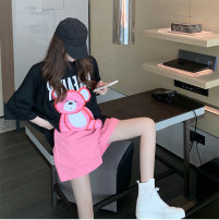 Women's large Summer 2020 Pink bear, black T, pink shorts It is suggested that the size of the recommended size is 120-40kg, and it is recommended to use the size of 120-40kg Two piece set commute easy moderate elbow sleeve Korean version Crew neck routine 6fHNIO 18-24 years old shorts