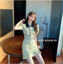 Women's large Summer 2020 Picture color It is suggested that the size of the recommended size is 120-40kg, and it is recommended to use the size of 120-40kg Dress singleton  commute Self cultivation moderate Conjoined Short sleeve Korean version Polo collar Three dimensional cutting puff sleeve