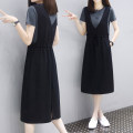 Dress Summer 2021 Navy + black, white + Black M,L,XL,2XL,3XL Mid length dress Two piece set Short sleeve street Crew neck Elastic waist Solid color Socket A-line skirt routine straps 18-24 years old Type A Pleating, pocket, stitching, resin fixation 71% (inclusive) - 80% (inclusive) brocade cotton