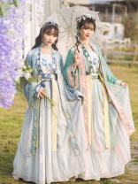 Hanfu 30% and below Spring 2021 Purple blue long skirt, light green long skirt, light blue shangru, light green shangru, white sling, blue waist skirt, green waist skirt S,M,L,XL Tencel
