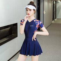 one piece  New Liya Skirt one piece With chest pad without steel support Spandex, polyester female Short sleeve Casual swimsuit Solid color