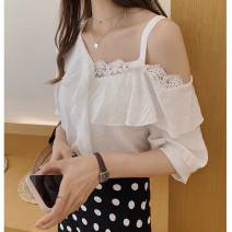 Lace / Chiffon Spring 2021 White, pink, green, sling [white] S,M,L,XL,2XL,3XL,4XL Short sleeve commute singleton  Regular V-neck Solid color routine 18-24 years old Other / other 51% (inclusive) - 70% (inclusive) cotton