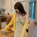Wool knitwear Summer 2021 Average size Yellow suspender skirt knitted cardigan Long sleeves singleton  Cardigan other More than 95% have cash less than that is registered in the accounts Thin money commute easy V-neck other Solid color Single breasted Korean version 18-24 years old Huang Yueer