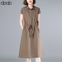 Dress Summer 2020 Coffee, Navy, Khaki M L XL XXL XXXL Mid length dress singleton  Short sleeve commute Polo collar Elastic waist Solid color other other other Others 40-49 years old Type A dpqb Korean version Pleated pocket button D20BDYL1205 51% (inclusive) - 70% (inclusive) cotton