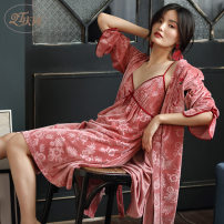 Pajamas / housewear set female Other / other M,L,XL,XXL Picture color Polyester (polyester) Nine point sleeve sexy pajamas autumn routine V-neck Broken flowers double-breasted 2 pieces rubber string More than 95% Fleece fabric Middle-skirt