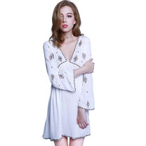 Nightdress Honey wish White black S M L XL sexy Long sleeves pajamas Short skirt winter Solid color youth V-neck Polyester (polyester) Embroidery More than 95% Chiffon Winter of 2018 Polyester 100% Pure e-commerce (online only)