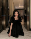 Dress Winter of 2019 Black, apricot S, M Mid length dress singleton  Short sleeve commute Crew neck middle-waisted Solid color zipper other puff sleeve Others 18-24 years old Type H Other / other Korean version backless More than 95% other