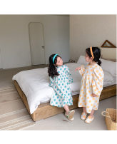 Dress Yellow, blue female Other / other 90cm,100cm,110cm,120cm,130cm,140cm Cotton 90% other 10% spring and autumn Korean version Long sleeves Dot cotton other 2 years old, 3 years old, 4 years old, 5 years old, 6 years old, 7 years old, 8 years old Chinese Mainland