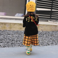 suit Xiaomi candy Fashionable black jacket, yellow and black plaid pants, the second batch of yellow and black plaid pants 80cm,90cm,100cm,110cm,120cm,130cm female No season Korean version routine There are models in the real shooting Socket nothing children Expression of love Class B