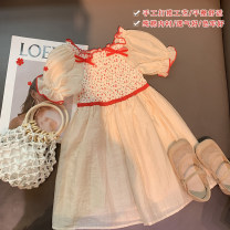 Dress Elegant apricot female Xiaomu 1 (for 80cm), 2 (for 90cm), 3 (for 100cm), 4 (for 110cm), 5 (for 120cm), 6 (for 130cm) Cotton 90% other 10% summer Korean version Short sleeve other other A-line skirt 12 months, 18 months, 2 years old, 3 years old, 4 years old, 5 years old Chinese Mainland