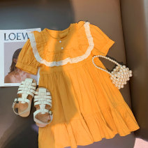 Dress female Cotton 90% other 10% summer Korean version Short sleeve Solid color other A-line skirt 12 months, 18 months, 2 years old, 3 years old, 4 years old, 5 years old Chinese Mainland