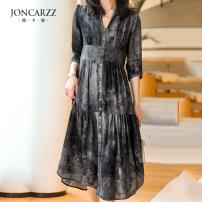 Dress Spring 2021 Grey Decor S,M,L singleton  three quarter sleeve commute V-neck Solid color Single breasted other routine Type X Joncarzz / jiankazi Ol style J2102075L silk
