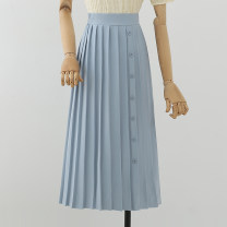 skirt Spring 2021 S M L XL Coffee blue black green Mid length dress commute Natural waist Pleated skirt other 18-24 years old 21-3-20-4 More than 95% other Disneyland other Simplicity Other 100%
