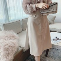 skirt Autumn 2020 XS,S,M Black, cream powder longuette commute High waist A-line skirt Solid color Type A 25-29 years old D20AF8028 51% (inclusive) - 70% (inclusive) PU pocket
