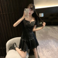Women's large Summer 2021 black M. Large L, large XL, large XXL, large XXL, large XXXL Dress singleton  commute easy moderate Socket Short sleeve Solid color Korean version square neck Three dimensional cutting routine Other / other 18-24 years old zipper 31% (inclusive) - 50% (inclusive)