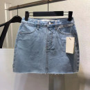 skirt Summer 2021 L,M,S Light blue, black Short skirt Versatile High waist A-line skirt Solid color Type A Denim cotton