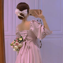 Dress Spring 2021 Light apricot S M L XL longuette singleton  three quarter sleeve Sweet square neck High waist Solid color Socket Princess Dress bishop sleeve Others 18-24 years old Type X Mood color bow CL21-5 More than 95% other Other 100% solar system Pure e-commerce (online only)