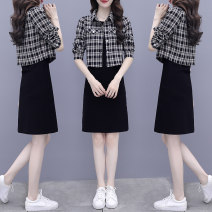 Dress Autumn 2020 S M L XL 2XL Mid length dress Two piece set Long sleeves commute Crew neck High waist lattice Socket A-line skirt routine Others 25-29 years old Type A Charm Korean version Button More than 95% other other Other 100% Pure e-commerce (online only)