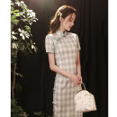 cheongsam Spring 2021 S M L XL XXL 3XL Long lace blue green plaid pink lace Plaid long Short sleeve long cheongsam Retro Low slit daily Oblique lapel lattice 18-25 years old Piping LQ2104 Nemore other Other 100% Pure e-commerce (online only)